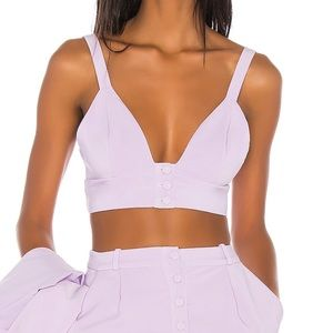 Song of Style Lou Button Front Crop Top Lilac